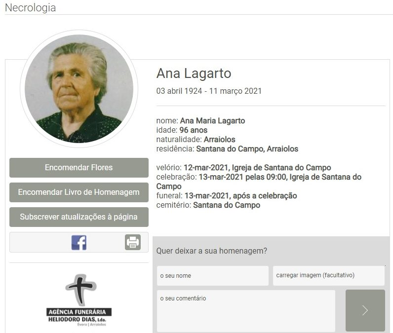 Santana do Campo: Faleceu a sra. Ana Lagarto