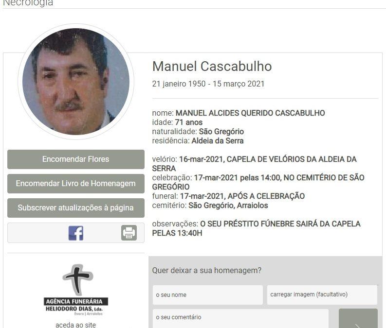 São Gregório/Aldeia da Serra: Faleceu o sr. Manuel Cascabulho