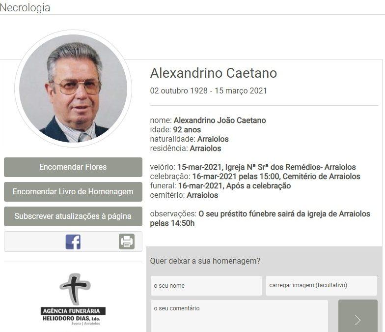 Arraiolos: Faleceu o sr. Alexandrino Caetano