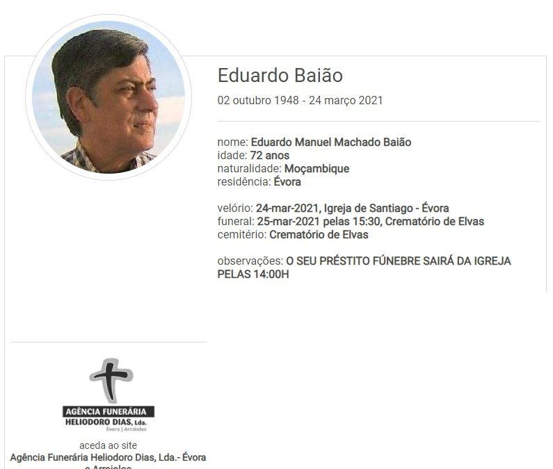 Évora: Faleceu o sr. Eduardo Baião