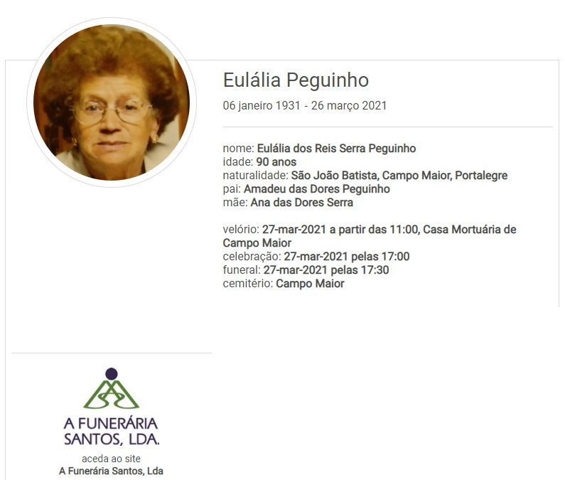 Campo Maior: Faleceu a sra. Eulália Peguinho