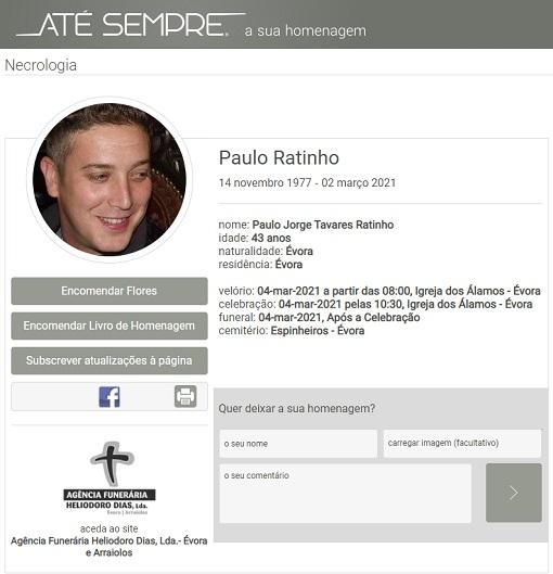 Évora: Faleceu o sr. Paulo Jorge Ratinho