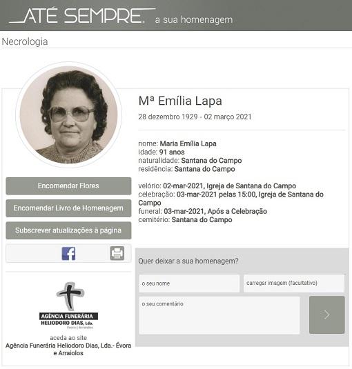 Santana do Campo: Faleceu a sra. Maria Emília Lapa