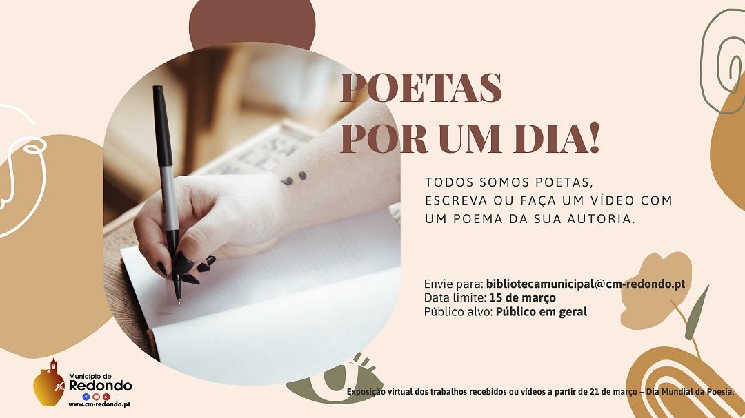 """Redondo: Desafio """"Poetas por um dia"""" para assinalar o Dia Mundial da Poesia – 21 de março"""