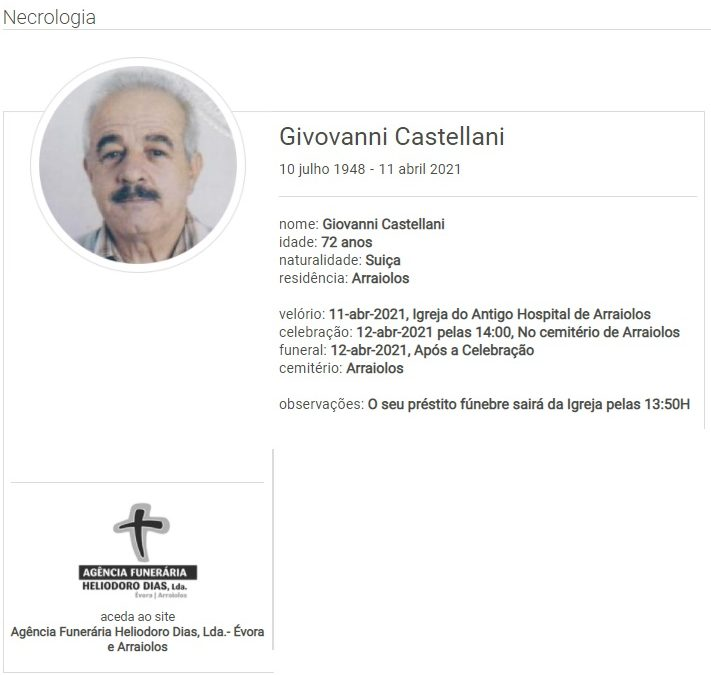 Arraiolos: Faleceu o sr. Givovanni Castellani