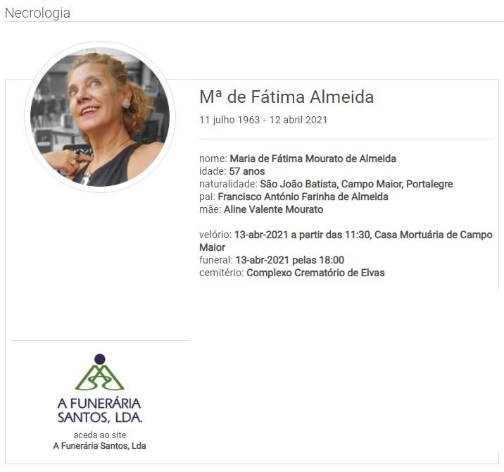 Campo Maior: Faleceu a sra. Maria de Fátima Almeida