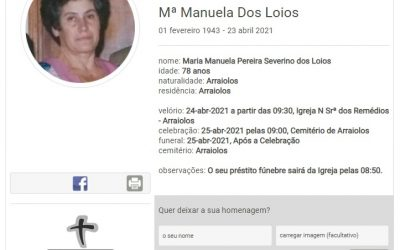 Arraiolos: Faleceu a sra. Mª Manuela dos Loios