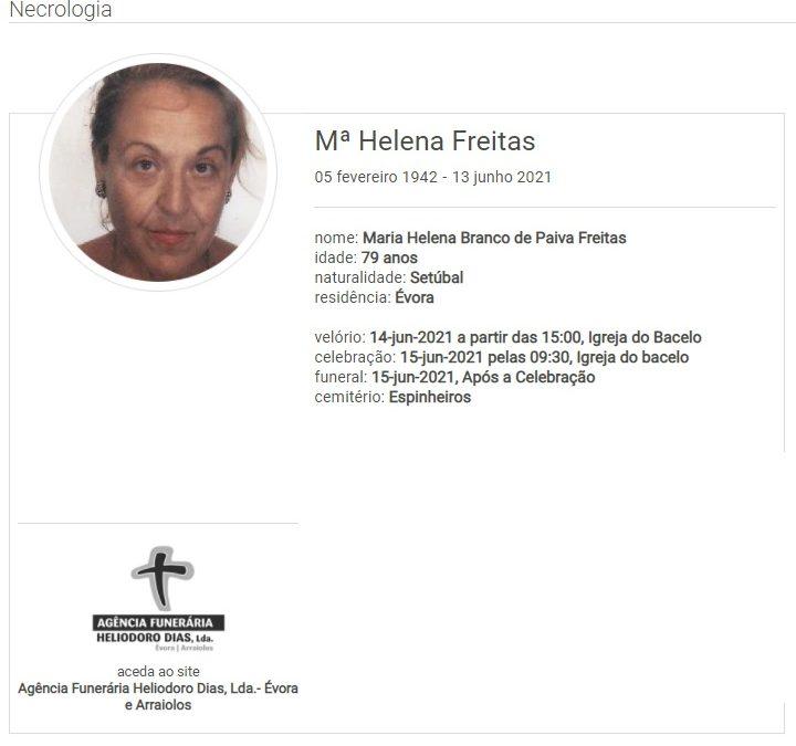 Évora: Faleceu a sra. Maria Helena Freitas