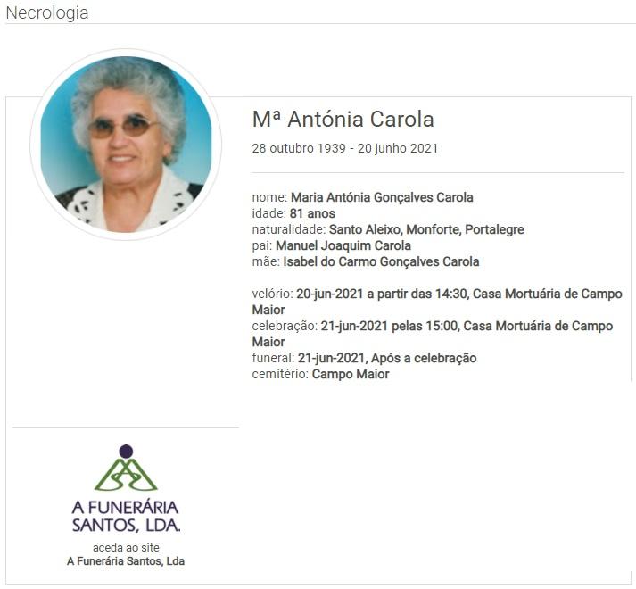 Campo Maior: Faleceu a sra. Maria Antónia Carola